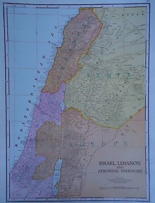 Vintage 1952 ISRAEL - LEBANON Map ~ Authentic Original 60 Year Old Map 72818