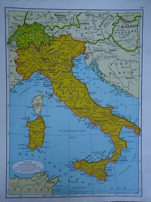 Vintage 1952 ITALY Map ~ Authentic Original 60 Year Old Atlas Map 72818