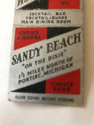 "Vintage Matchbook Cover Sandy Beach""On The Dixie"" Pontiac Michigan"