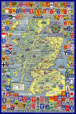 "Historical Map of Scotland - 30"" x 20"" Photo Poster Print"