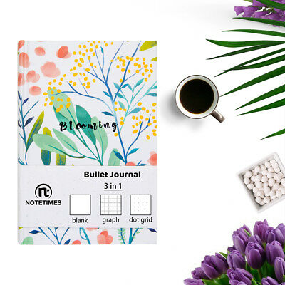 Floral Hardcover A5 Blank Graph Dot Grid Notebook for Bullet Journal, 256 Pages