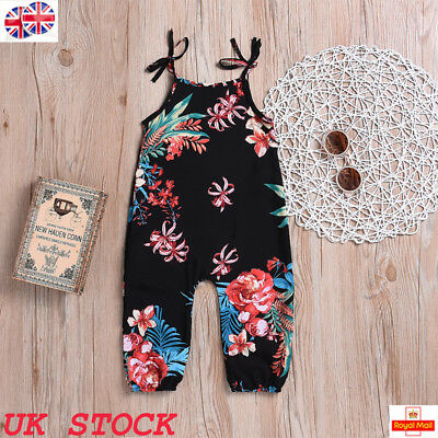 UK Toddler Baby Girl Floral Printed Slip Jumpsuit Romper Summer Outfits Clothes