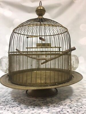 Antique Brass Hendryx Wire Bird Cage w/Water/Feed Holder Parakeet Canary