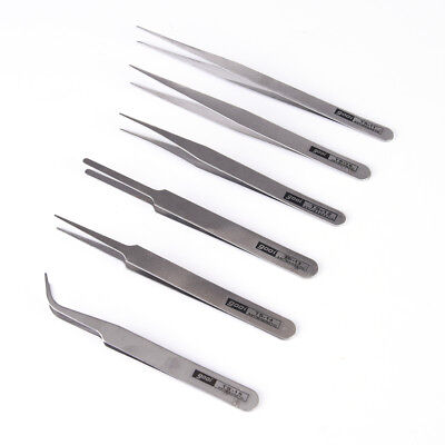 6 pcs All Purpose Precision Tweezer Set Stainless Steel Anti Static Tool Kit FLH