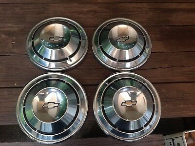 1968 1969 1970 Chevy Dog Dish Hubcaps Set of 4 Chevelle Nova Impala SS Chevrolet