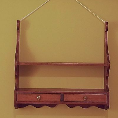 Vintage Wooden Plate Shelf with 2 Drawers