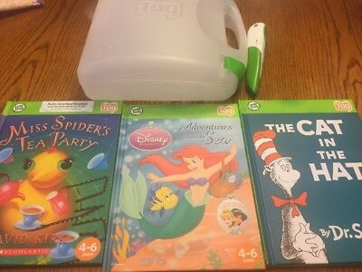 Lot Of 3 Leap Frog Tag Reader Books Pen Carrying Case Tote Girls Disney Seuss