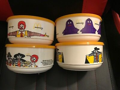 Lot of 4 1983 Whirley Plastic Ronald McDonald Bowl With Lids