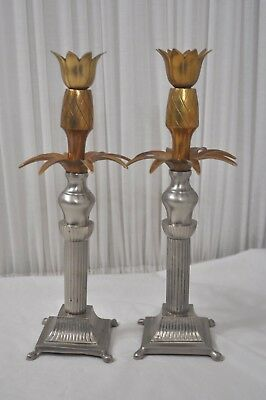 pair of Vintage Brass Candle Stick Holder Pineapple by Mottahendeh? India
