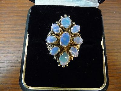 Beautiful Vintage Fire Opal 14k Gold Estate Ring - 6 grams - Size 7.5 - 9 Opals