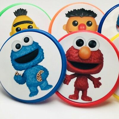 Sesame Street Elmo Cupcake Toppers Rings Birthday Party Favors - Set of 18