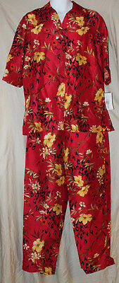 Sunny Leigh 100% red silk shantung pant/blouse set new with tags top M pants 10