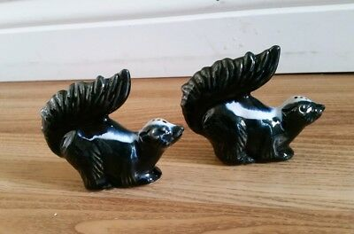 Vintage North Dakota signed Rosemeade Pottery Skunk Salt and Pepper Shakers