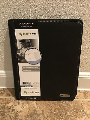 At-A-Glance 2019 Monthly Black Padfolio Planner Calendar New Year 70-290-05