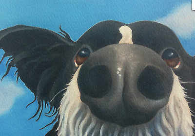 border collie painting fine art giclee print paper and canvas