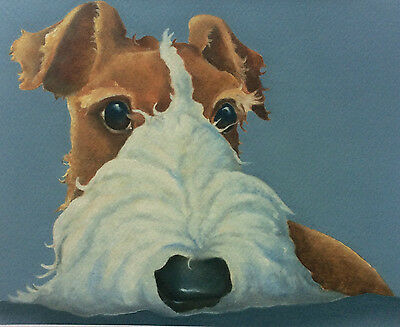 wire haired fox terrier painting fine art giclee print