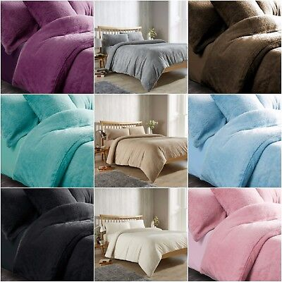 Teddy Fleece Duvet Quilt Cover Set , Fitted Sheet , Throw Blanket , Warm Cosy