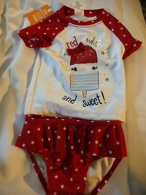 Bamboree SwimSuit 18/24 months red white an sweet !