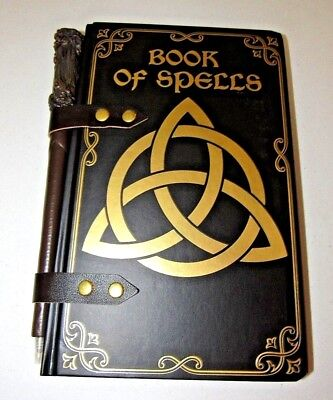 Retro Dark Brown & Gold Book Of Spells Wizard Journal With Wand Pen