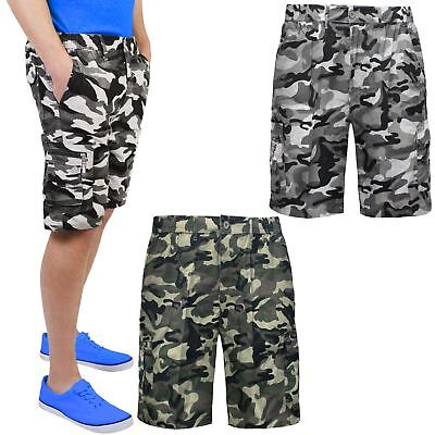 Mens Knee Length Shorts Camouflage Military Elasticated Army Combat Cargo Pants