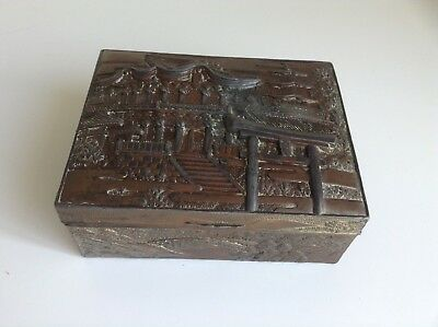 Antique Asian Trinket Box Repousse Metal/Brass/Copper Hinged Scenery and Bliding