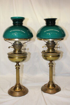 Pair of Vintage Brass Columned Dual Wick Oil Lamps w/ Chimney & Green Shades