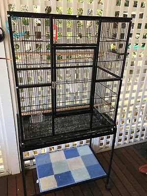 Large Bird Cage Parrot Aviary Pet Stand-alone Budgie Perch Wheels Castor Black