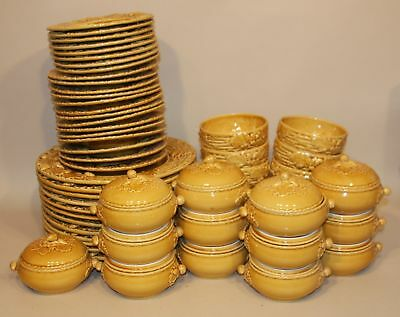 59 Pcs Bordallo Pinheiro Oak Leaf Gold Majolica Chop Salad Plates Cereal Bowls +