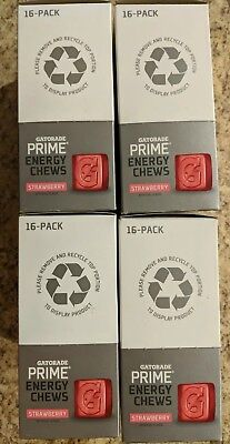 384 Strawberry Expire 1/2018 Gatorade Prime Energy Chews 4 boxes of 16 sleeves