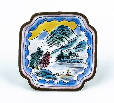 An Antique Chinese Square Canton Enamel Decorated Mountain Lake Scene