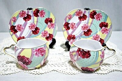 LOT: 2 Sets Yamasen Heart Shaped Cups + Saucers, Roses, Geisha image inside cup