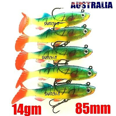 Soft Plastic Vibe Lures Poddy Mullet Jig Head Freshwater Fishing Lure Flathead