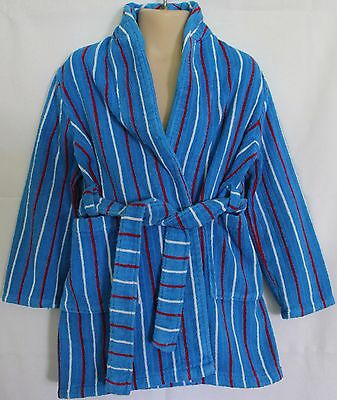 VINTAGE 1970'S ~ Kids Blue Red White Striped Terry Cotton Dressing Gown 2 3