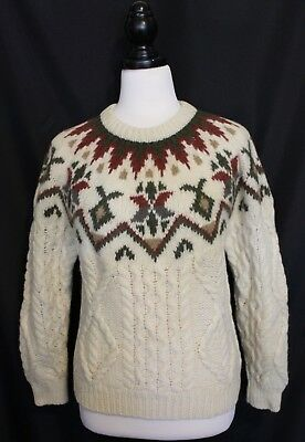 VINTAGE 1980's ~  Cream Green Burgundy Wool Fair Isle Nordic Cable Knit Jumper L