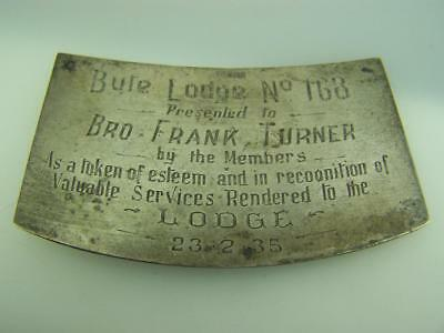 1935 Silver Masonic presentation memorial plaque Bute Lodge No.168         2922