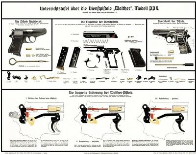 nice german ww2 walther ppk pistol color poster manual take a lqqk rh picclick com Custom Walther PPK Walther PPK Silencer