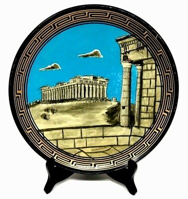 Ancient Greek Mythology Temple of Goddess Athena PARTHENON Art Pottery Plate 11""
