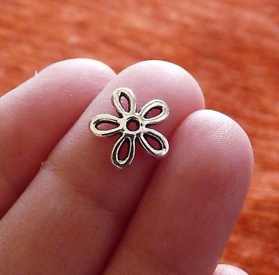 20pcs Flower Bead Caps for Jewelry 11mm End Spacer Beading Supplies Silver Tone