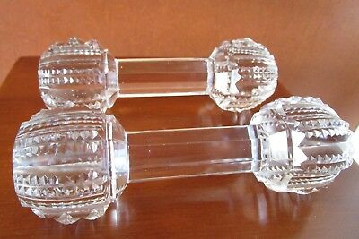 Antique Victorian Crystal Dumbbell Master Knife Rests[ Set Of 2]  5 3/8""