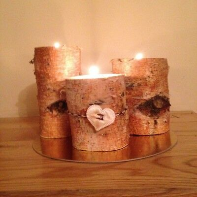 3 Rustic Wood Silver Birch Tree Tea Light Candle Holders Christmas Log Gift