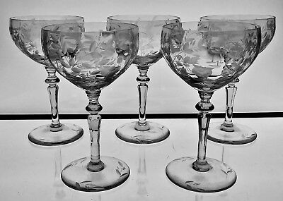 Cut Glass Cocktail Glasses - Likely American Glass   Engraved Decoration