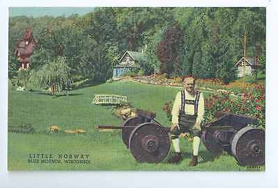Blue Mounds, WI, Little Norway, Man in Costume, Linen, Closed- Postcard