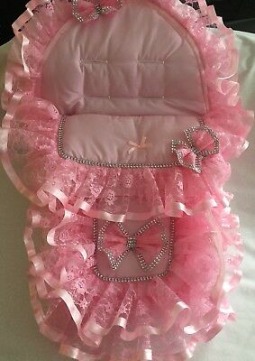 Romany style Car Seat Cosy Toes/footmuff/decorated with pink lace and Bling