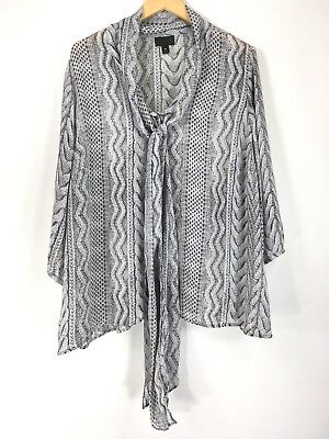 7c9fb7b8577 Worthington JCPenney Womens size 3X Gray Sheer Blouse Cable Knit Sweater  Print