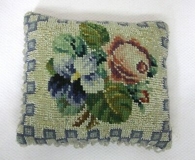 Antique Needlepoint & Glass Beaded PIllow Pincushion Pink Rose Purple Pansy