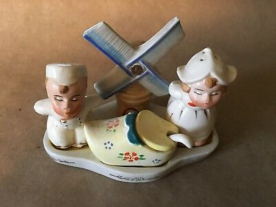 Rare Antique Salt & Pepper Shaker Set- Dutch Set - 6 Piece
