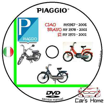 MANUALE OFFICINA PIAGGIO Ciao Bravo Si PDF WORKSHOP MANUAL SERVICE DVD