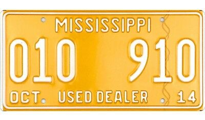 MINT NOS 2014 Mississippi USED CAR DEALER License Plate #010 910