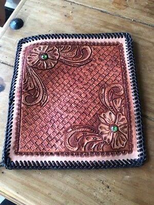 Hand Tooled Leather Checkbook Cover With Some Bling..Men's Or Women's.