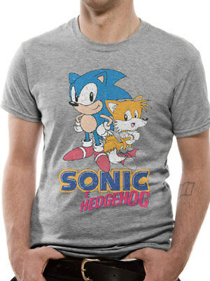 Sonic the Hedgehog and Friends Official Sega Games Console Grey Mens T-shirt